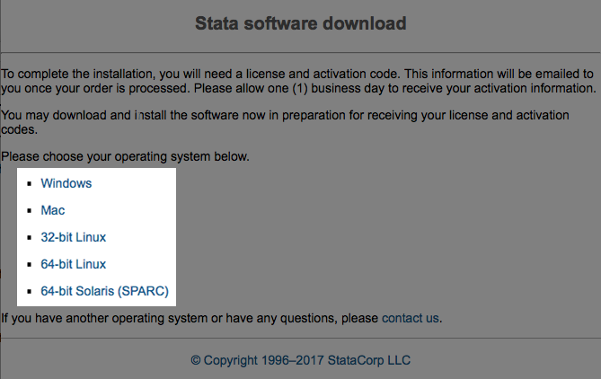 Downloading Stata for Windows